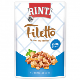 Консервы для собак -  Rinti Filetto in Jelly, куриное филе с уткой, 100 г