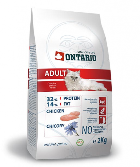 Barība kaķiem - Ontario Adult, ar vistas gaļu, 2 kg title=