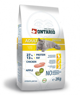 Barība kaķiem - Ontario Adult Indoor, 2 kg