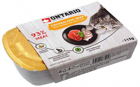 Konservi kaķiem - Ontario Alucup Chicken with beef, 115 g