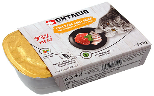 Консервы для кошек - Ontario Alucup Chicken with beef, 115g