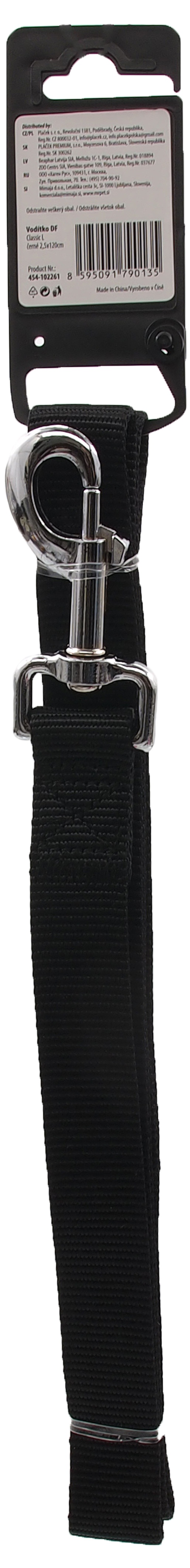 Pavada – Dog Fantasy Classic Neilona L, 25 mm, 120 cm, krāsa – melna