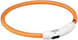 Atstarojošā kakla siksna suņiem - Trixie USB Flash Light Ring, 45 cm/7 mm, oranža