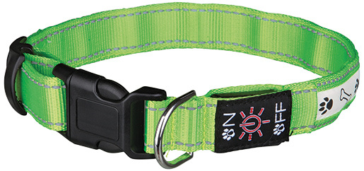 Atstarojošā kakla siksna suņiem - Flash Illuminous Collar USB, S-M, 30-40cm/25mm, zaļa