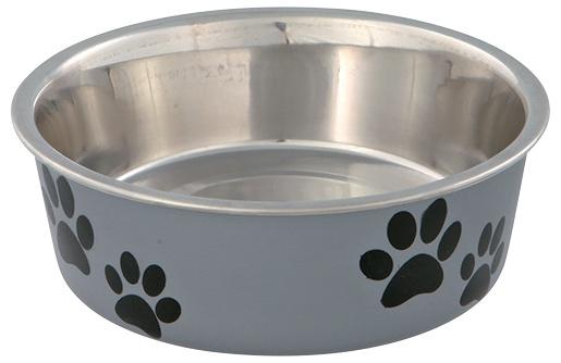Миска для собак – TRIXIE Stainless Steel Bowl with Plastic Coating, 0,25 л/12 см