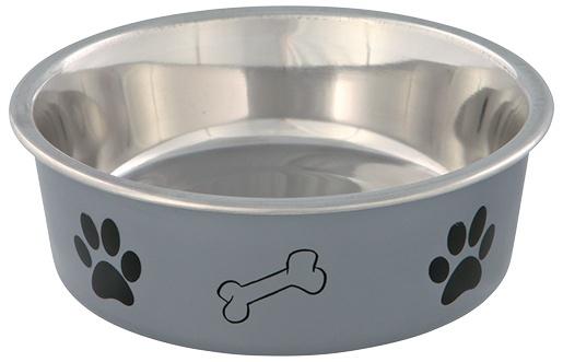 Bļoda suņiem – TRIXIE Stainless Steel Bowl with Plastic Coating, 0,4 l/14 cm