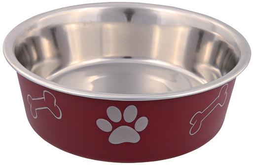 Миска для собак – TRIXIE Stainless Steel Bowl with Plastic Coating, 0,4 л/14 см