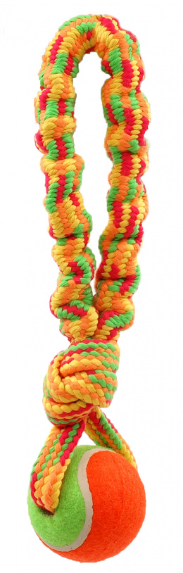Rotaļlieta suņiem - Dog Fantasy Good's Ropes loop with ball, 28 cm