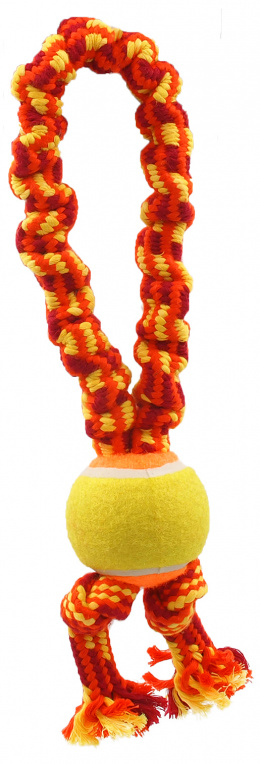 Игрушка для собак - Dog Fantasy Good's Ropes loop with ball and 2 knots, 32 см