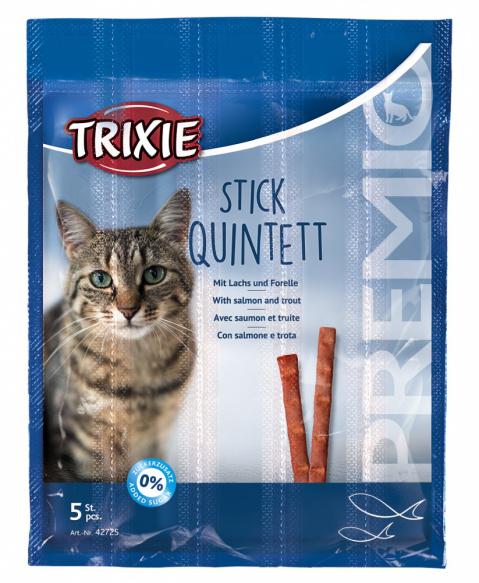 Gardums kaķiem - Trixie Premio Quadro-Sticks anti-hairball, ar lasi un foreli, 5*5 g