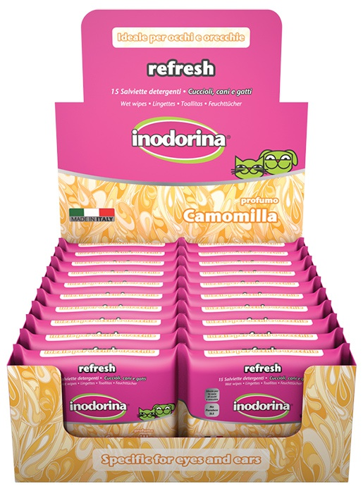 Влажные салфетки - INODORINA с ромашкой, 15 шт