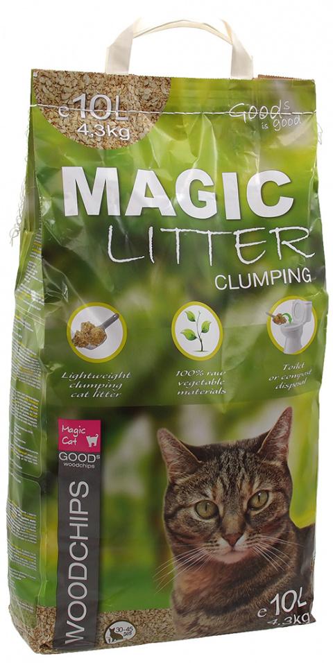 Pakaiši kaķu tualetei - Magic Cat Litter Woodchips Clumping 10 l