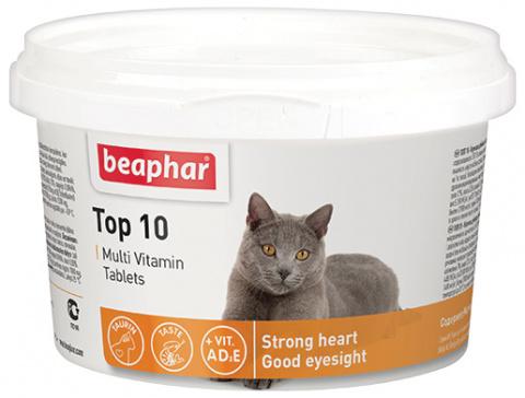 Barības piedeva kaķiem - Beaphar vitamīni TOP-10 cat, 180 tabl. title=