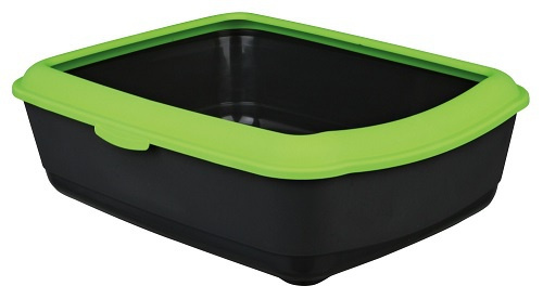 Туалет для кошек - Classic cat litter tray with rim 37*15*47cm, темно серый/яблочно-зеленый