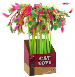 Игрушка для кошек - Magic Cat Toys, stick ribbons with feathers 27-49cm, mix colour