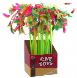 Игрушка для кошек - Magic Cat Toys, stick ribbons with feathers 27-49cm, mix colour