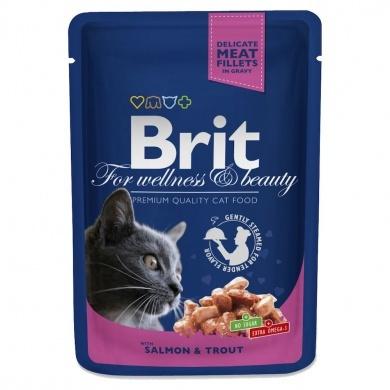 Konservi kaķiem - BRIT Premium, Salmon and Trout, 100 g title=