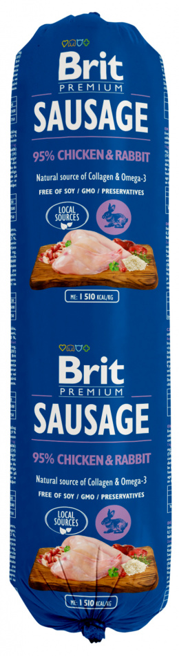 Консервы для собак - Brit Sausage Chicken and Rabbit, 800 г