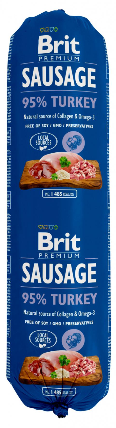 Konservi suņiem - Brit Sausage Turkey, 800 g title=