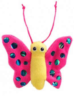 Игрушка для кошек – Magic Cat Plush butterfly with catnip mix colour, 13 см