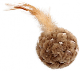 Игрушка для кошек – Magic Cat Chenille ball with feathers and catnip mix colour, 14 см