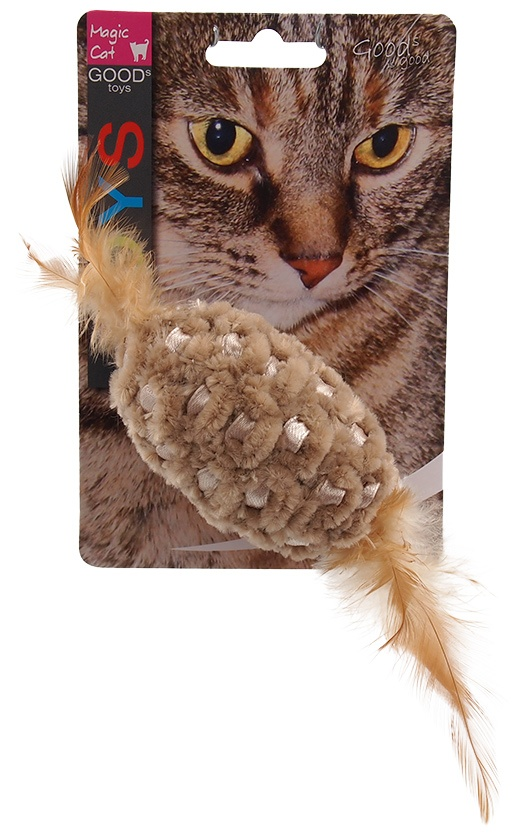Игрушка для котов - Magic Cat Chenille ball with feathers and catnip mix colour, 20 см