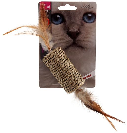 Игрушка для кошек - Magic Cat Sea Grass roller with feathers, 19 см