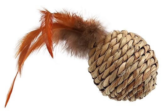 Игрушка для кошек – Magic Cat Sea Grass ball with feathers, 9 см
