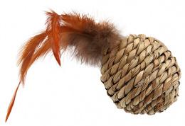 Игрушка для кошек - Magic Cat Sea Grass ball with feathers, 9cm