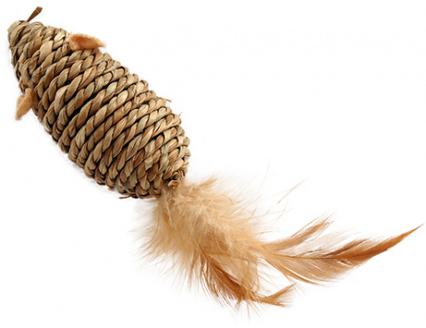 Игрушка для кошек - Magic Cat Sea Grass mouse with feathers, 18 см title=