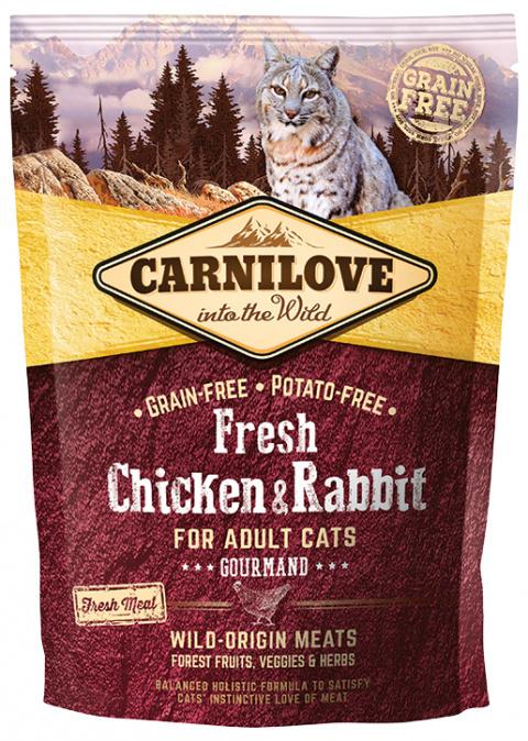 Barība kaķiem - CARNILOVE Adult Cats Gourmand, Fresh Chicken & Rabbit, 0.4 kg