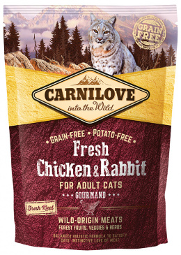 Barība kaķiem - CARNILOVE Adult Cats Gourmand, Fresh Chicken & Rabbit, 0.4 kg