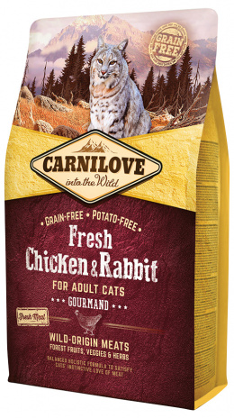 Barība kaķiem - CARNILOVE Adult Cats Gourmand, Fresh Chicken and Rabbit, 2 kg