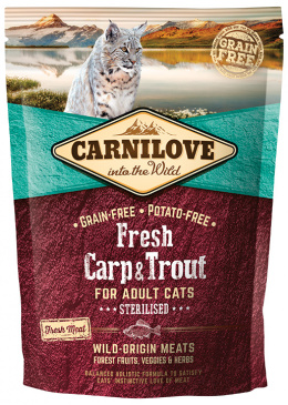 Barība kaķiem - CARNILOVE Adult cats Sterilised, Fresh Carp & Trout, 0.4 kg