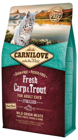 Barība sterilizētiem kaķiem - CARNILOVE  Adult Cats Sterilised, Fresh Carp & Trout, 2 kg