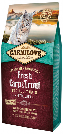 Barība kaķiem - CARNILOVE Adult cats Sterilised, Fresh Carp & Trout, 6 kg