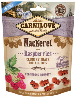 Лакомство для собак - CARNILOVE Dog Crunchy Snack Mackerel with Raspberries, 200 г