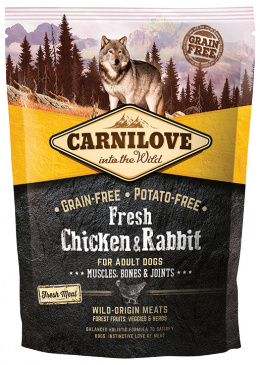 Barība suņiem - CARNILOVE Fresh Chicken and Rabbit, Muscles, Bones and Joints, 1,5 kg