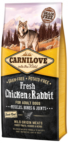 Корм для собак - CARNILOVE Fresh Chicken & Rabbit, Muscles, Bones & Joints, 12 кг