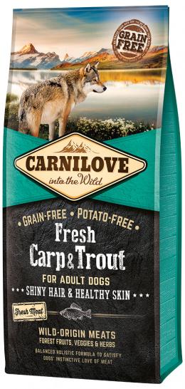 Barība suņiem - CARNILOVE Fresh Carp & Trout Shiny Hair & Healthy Skin, 12 kg