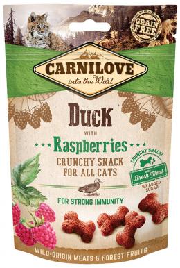 Gardums kaķiem - CARNILOVE Snack Duck with Raspberries, 50 g