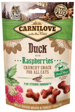 Gardums kaķiem - CARNILOVE Snack Duck with Raspberries, 50 g