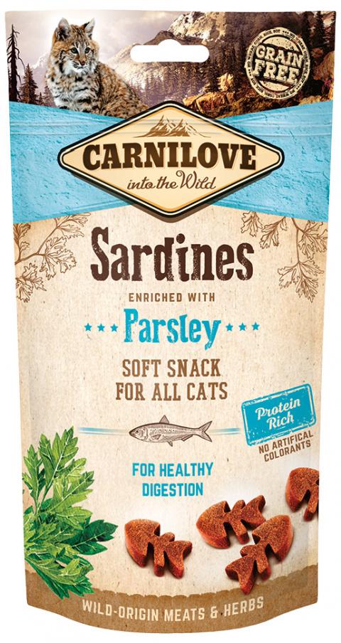 Gardums kaķiem - CARNILOVE Semi-Moist Snack, sardīnes ar pētersīļiem, 50 g