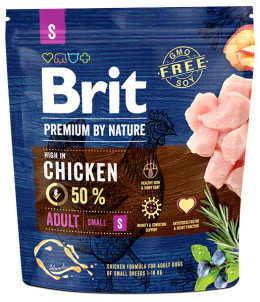 Корм для собак - BRIT Premium By Nature Adult S, 1 кг