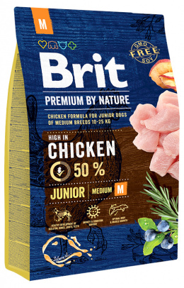 Корм для собак - BRIT Premium By Nature Junior M, 3 кг