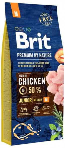Корм для собак - BRIT Premium By Nature Junior M, 15 кг