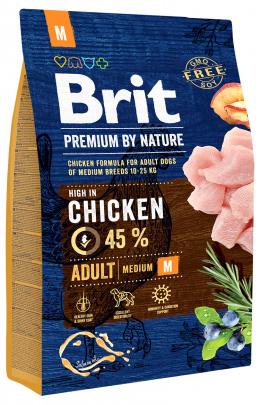 Корм для собак - BRIT Premium By Nature Adult M, 3 кг