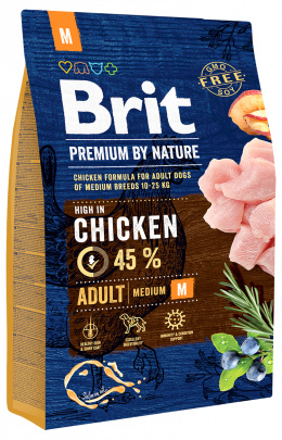 Корм для собак - BRIT Premium By Nature Adult M, 3 кг
