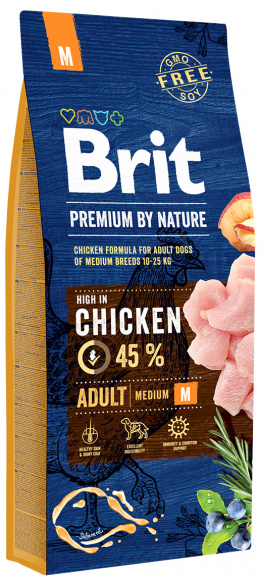 Корм для собак - BRIT Premium By Nature Adult M, 15 кг