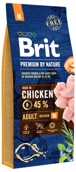 Корм для собак - BRIT Premium By Nature Adult M, 15 кг